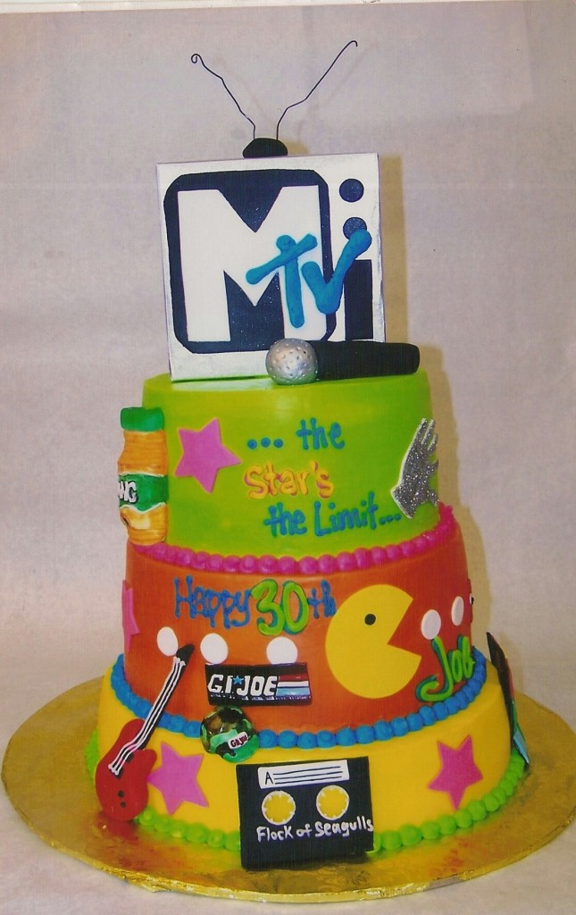Posted In Custom Cakes Grown Up Birthday Stacked CakesTagged 80s Eighties Mtv